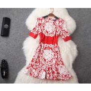 Retro Volantmaterial Gedruckt Kurzarm-dünnes Kleid