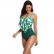Sexy Bananenblätter-Badeanzug-Rüsche-hohe Taillen-Sommer-Bikinis