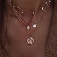 Einzigartig Star Diamant mehrschichtig Perle Frauen Pullover Halskette