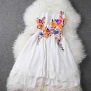 Sommer-neue stereoskopische Stickerei Unregelmäßige Chiffon-Kleid