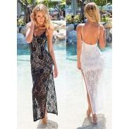Reizvoller Spitze rückenfreie Geschlitztes Kleid
