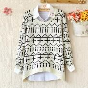 Einzigartiger warmer, unregelmäßiger Pullover mit langen Ärmeln