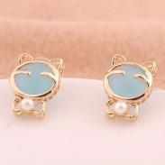 Glücklich Katze Auge Opal Ohrringe & Ohr