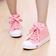 Süß Stil Beiläufig Bogen Krawatte Wohnung Leinwand Schuhe