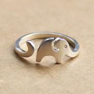 Handgefertigt niedlich kleine Elefant 925 Sterlingsilber Öffnungs Ring