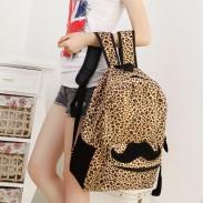 Mode Stil Schnurrbart Leopard-Druck-Rucksack