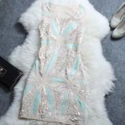 Elegante Netz gestickte Paillette Eine-Linie Kleid
