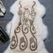 Schlank Starry Stickerei Paillette Partei Kleid
