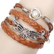 Frieden Flügel Liebe Perle Armbänder
