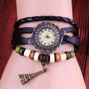 Retro Eiffel Turm Leder Armband Uhren