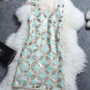 Retro wulstiger Kupfer Barzahlung Muster Ärmelloses Kleid
