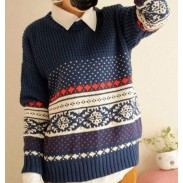 Einzigartige Vintage Pattern Weave Neck Sweater