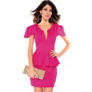 Neuer reizvoller tiefer V-Lotos-Blatt dünnes Kleid