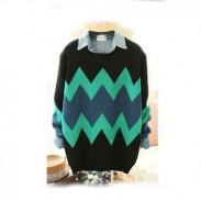Weinlese-geometrische Beschaffenheits-dünner Pullover