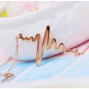 EKG- Herz 18K Rose Gold Halskette / Geburtstag Geschenk
