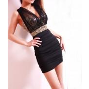 Reizvolle dünne Perspektive Paillette dünnes Kleid