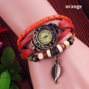 Retro Niedlich Blatt Leder Armband Uhren