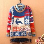 Weihnachtsart-Rotwild-Schneeflocken-Strickjacke-Strickjacke