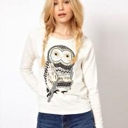 Mode Strass Eule Gedruckt Ärmel Sweatshirt