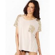 GoldPaillette Stitching Lose beiläufige Rundhals T-Shirt
