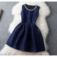 Neue Weinlese-Blau handgemachtes Bördeln Party Kleid