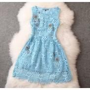 Neue elegante Spitze häkeln Handmade Perlen verziert Party-Kleid
