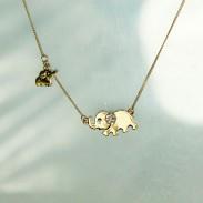 Nette Mutter Elefant Baby-Elefant Blau Augen Diamant Ohr Anhänger Halskette