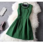 Neue einzigartige Frische Grüne Perlen verziert Party-Kleid
