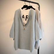Lässige Solide Batwing Raglan-Hülsen-Reißverschlusswolljacke lose Kurz Pullover