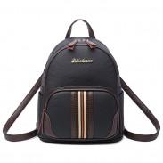 Eleganter Mini Kontrastfarbe Streifen Schwarz Weich PU Rucksack