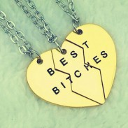 Abteilung Herz BEST BITCHES Anhänger 18K Vergoldet Girlfriends Ketten