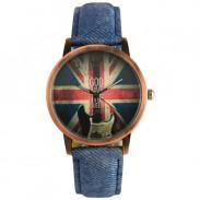 Vereinigtes Königreich  Flagge Jeansstoff-Muster-Armband-Weinlese-Uhr-