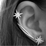 Mode Winkys Diamant-Schneeflocke-Kette Asymmetrische Ohrclips Ohrringe