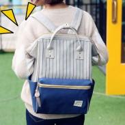 Frisch Platz Wasserdichte Streifen-Laptop-Tasche Multifunktionsreise-Schule Leinwand Rucksack