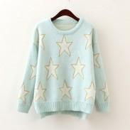 Sterne Pullover Süße lange Hülsen-Strickjacke