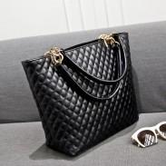 Weinlese-Diamant-Muster-Leder-Handtasche