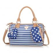 Damen Marine-Streifen-Tupfen-Schultertasche Umhängetasche Handtasche