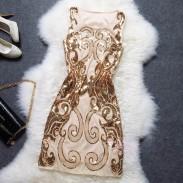 Klassische Stickerei Pailletten Nachtclub-Abend-Kleid