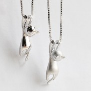 Frech Sterling Silber Kitten Swinging Anhänger Cute Animals Halskette