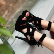 Sommer neue römische Sandalen Cross Straps Schuhe Fisch Kopf Schuhe mit hohen Absätzen
