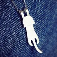Hand Gemacht Niedlich Katze 925 Sterling Silber  Halskette