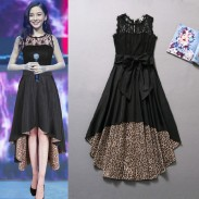 Neue Art und Weise Reizvoller Leopard-Spitze-Broschierung Chiffon-Kleid