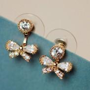 Leuchtenden Kristall Bow Frische süße Lady Zurück Hang Ohrringe