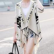 Folk Lösen Strickjacke Pullover Mantel Fransen Unregelmäßige Strickwaren Mantel