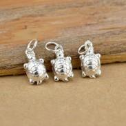 Original Sterling Silber Glossy Nette kleine Schildkröte-Anhänger-Halskette