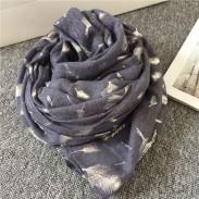 Jahrgang Feder Gedruckt Voile Unendlichkeit Schal