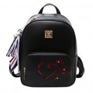 Mode Herz Hohl Rose Schwarz PU College Bag Schulrucksack