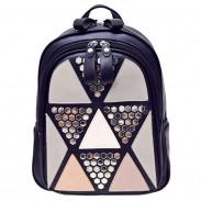Mode Mädchen Schule PU Spleißen Dreiecke Sequins Rucksack Freizeit Niet Rucksack