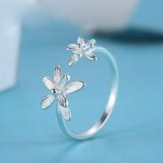 Doppelblumen Frische verstellbare Öffnung Sterlingsilber-Ringe