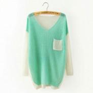 Lässige Spleiß Mischfarbe V-Ausschnitt Raglan Dolmanärmel Unregelmäßige Pullover